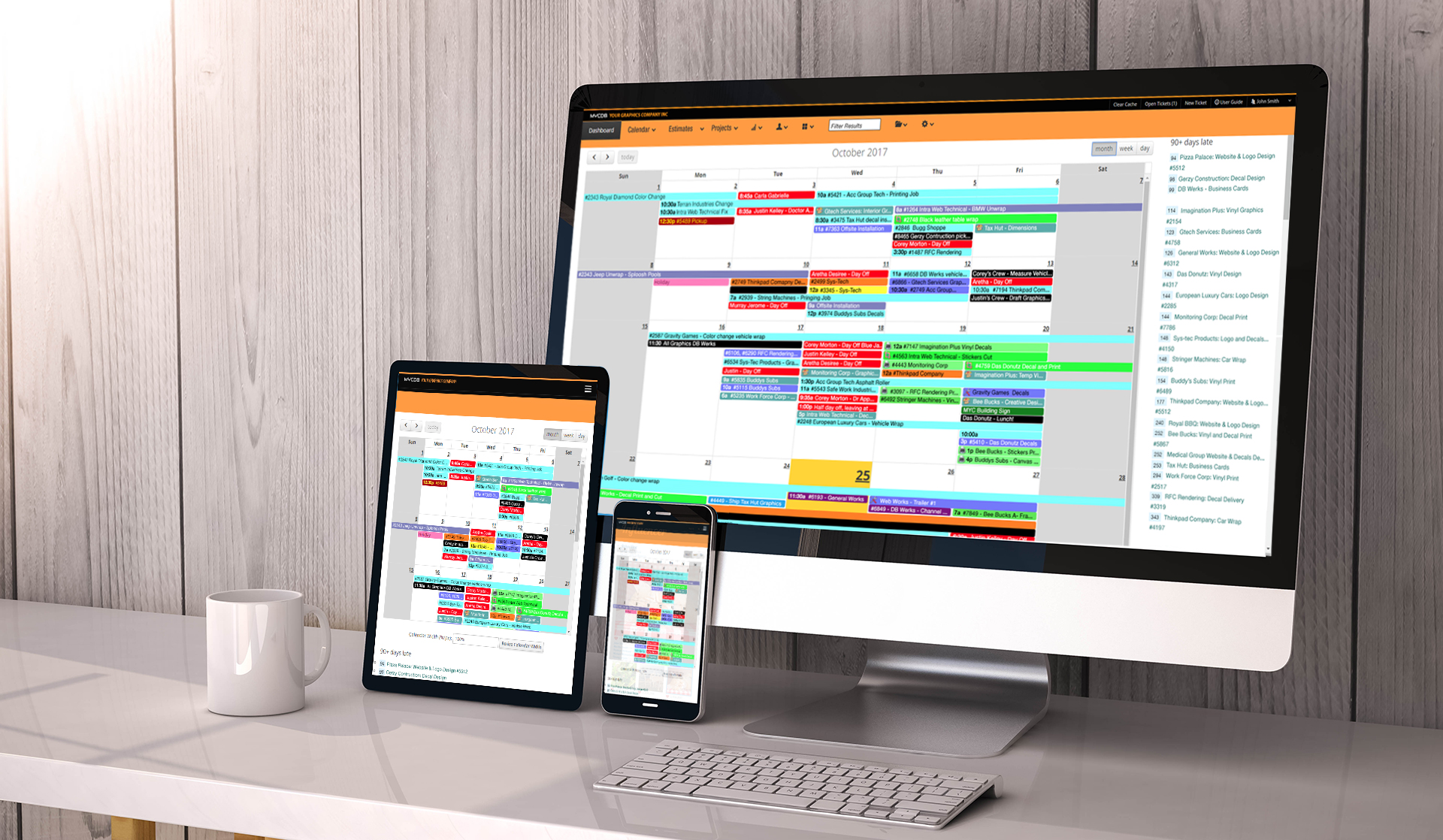 MYCDB Software - Calendar on Tablet, Mobile Phone and Desktop Computer